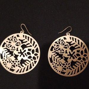 NWOT Bronze/Gold Metal Circular Earrings w/cutouts